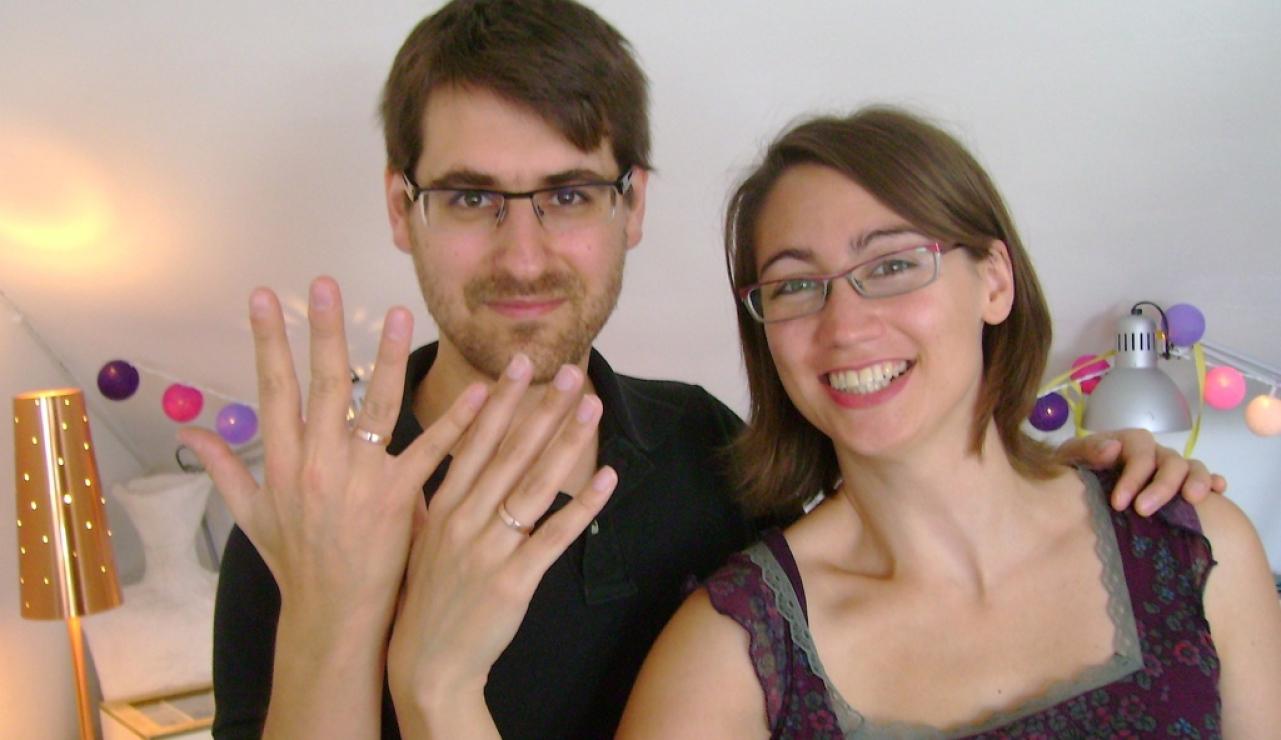Trauringe selbst schmieden Silvie & Thomas im Trauringkurs in Aachen